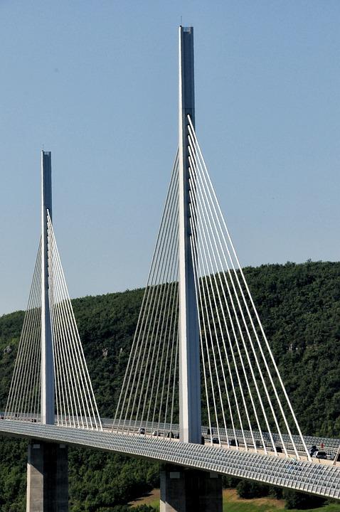 Bridge, Architecture, Millau Bridge, France, Pillar
