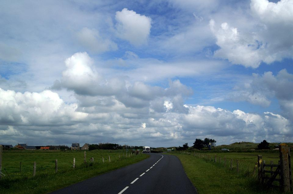 France, Normandy, Utah Beach, Road, Sky, Reported
