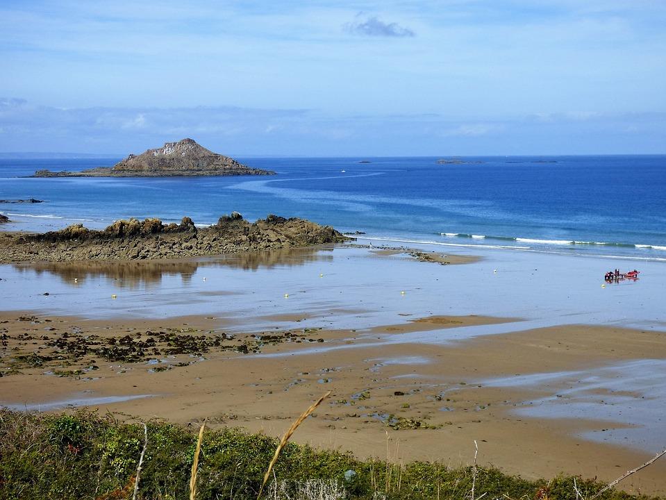 Sea, France, Brittany, Beach, Island, Pléneuf-val-andré