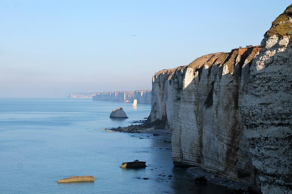 Cliff, Sky, Rock, Sea, Landscape, Nature, France, Water
