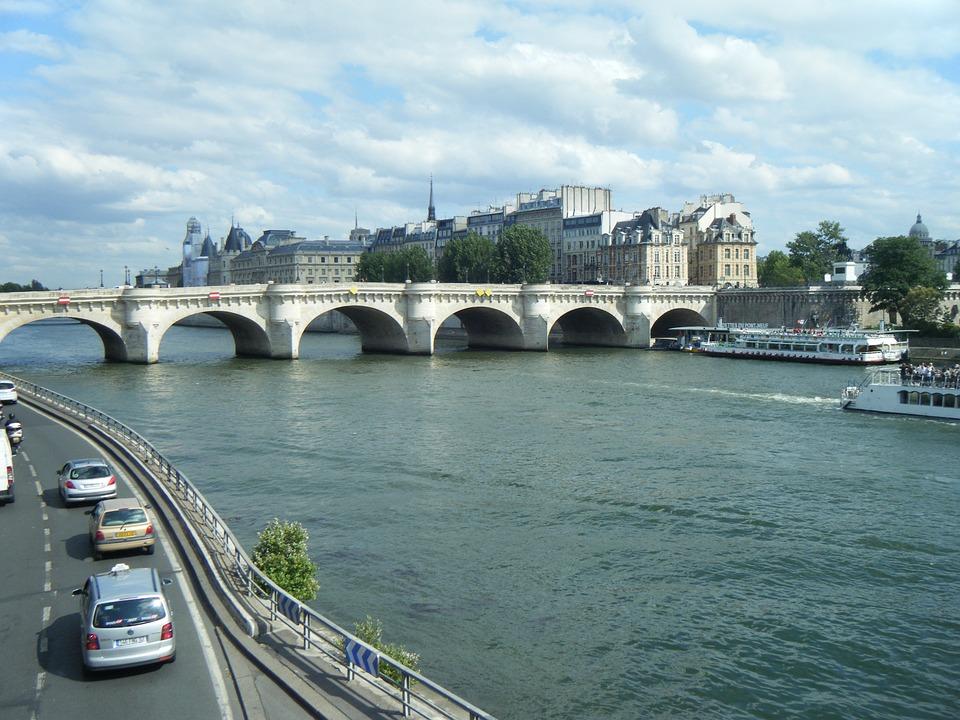 Bridge, The River Seine, Paris, France, River, Ship