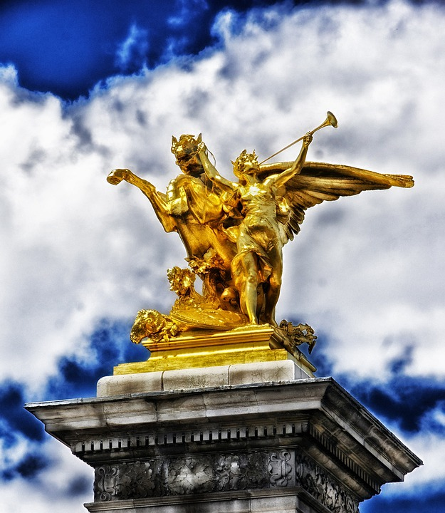 Paris, France, Sculpture, Statue, Monument, Sky, Clouds