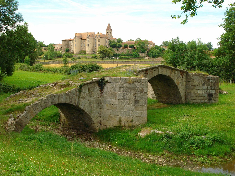 France, Palace, Bridge, Stone, Footbridge, Stream