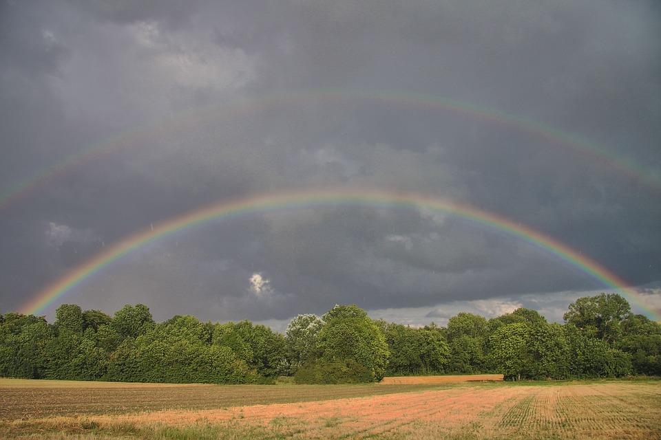 Summer, Landscape, Storm, Rain, Rainbow, Nature, France