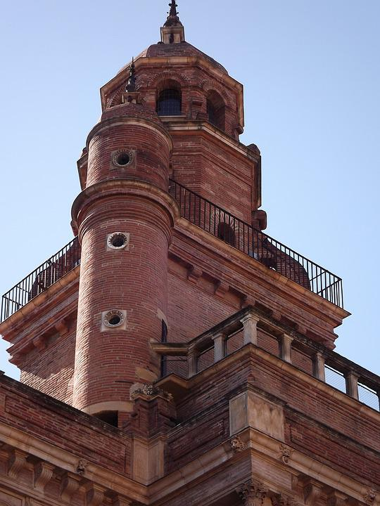 Toulouse, Tower, Brick, Gers, France, Building