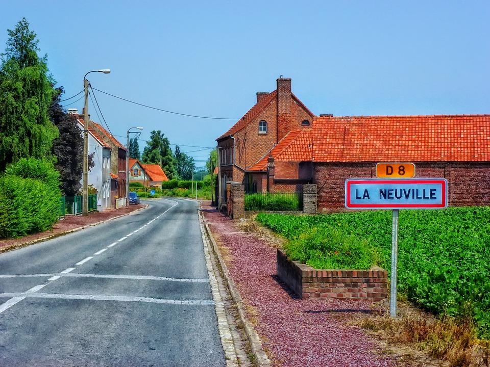 La Neuville, France, Village, Fields, Road, Hdr, Nature