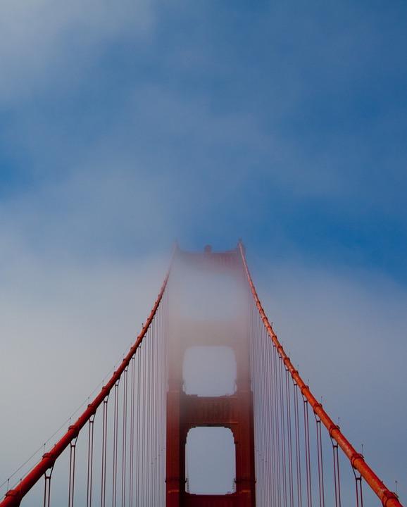 Golden Gate Bridge, Bridge, Sky, Francisco, Bay, Sea