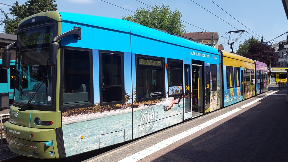 Train, Tram, Frankfurt, Advertising, Tourist Office