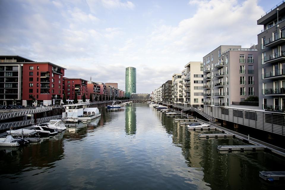 Frankfurt, Westhafen, River, Water, Westhafen Tower