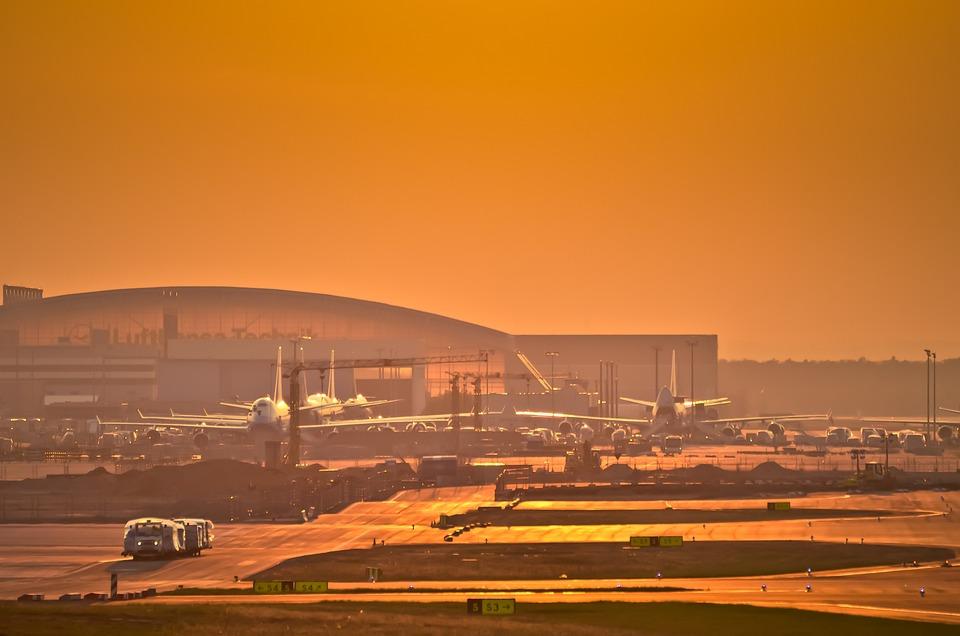 Airport, Frankfurt, Fraport, Aircraft, Afterglow