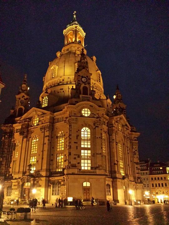 Frauenkirche, Dresden, Old Town, Building, Night