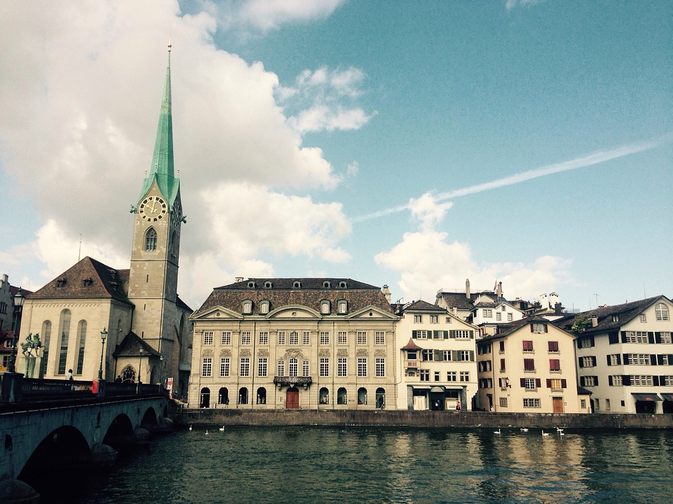 Zurich, Limmath, River, Fraumünster, Church, Sky