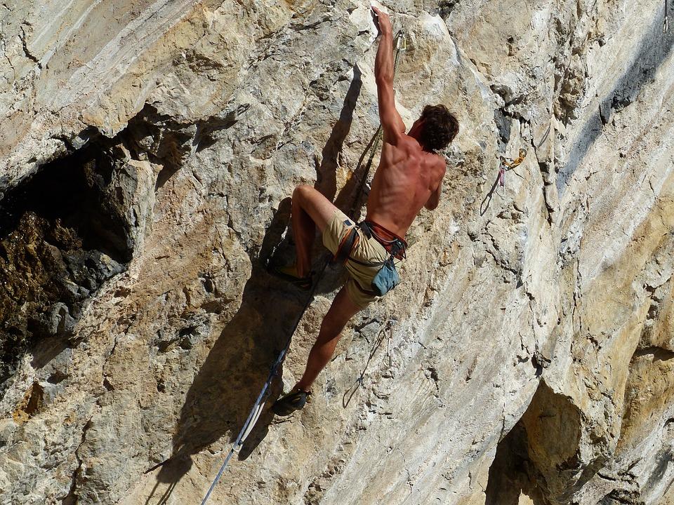 Climb, Free Climbing, Sun, Rock, Nature, Alpine