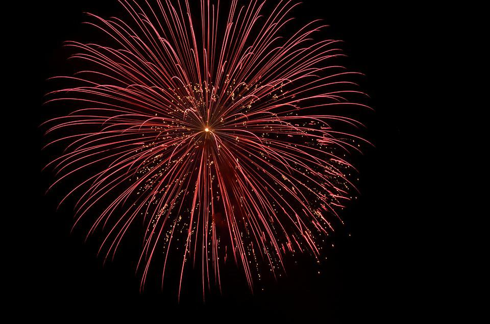 Red, Night, Sky, Firework, Explode, Explosion, Freedom