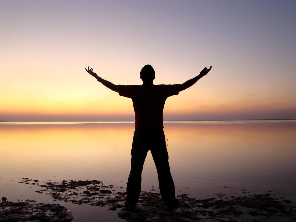 Beach, Freedom, Horizon, Man, Ocean, Person, Sea