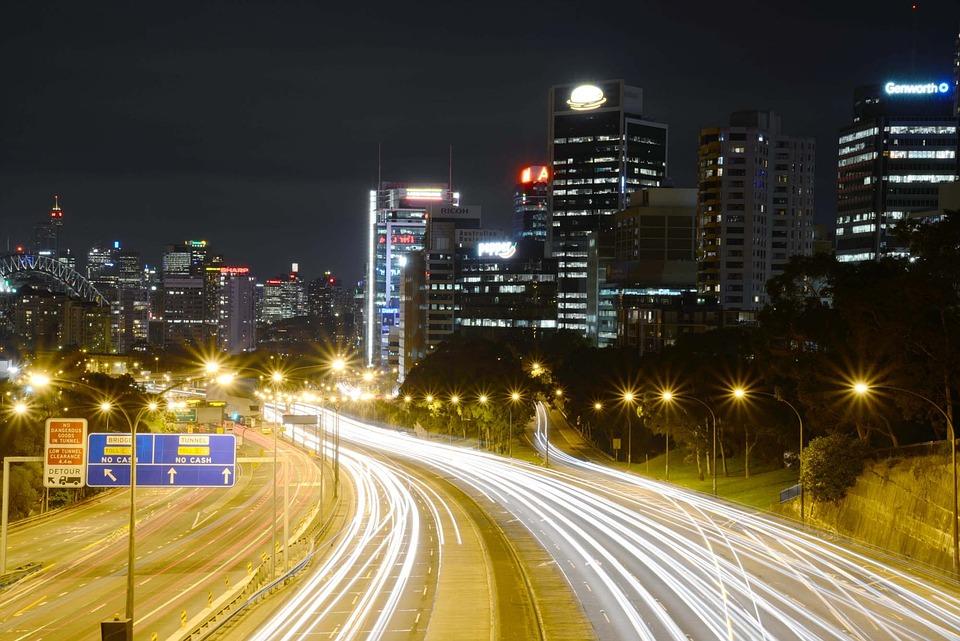 North Sydney, Australia, Freeway, Harbour Bridge, Night