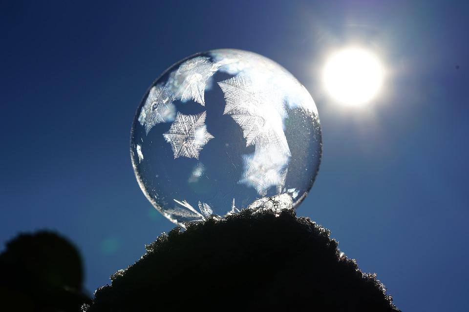 Soap Bubble, Crystals, Eiskristalle, Freeze, Cold