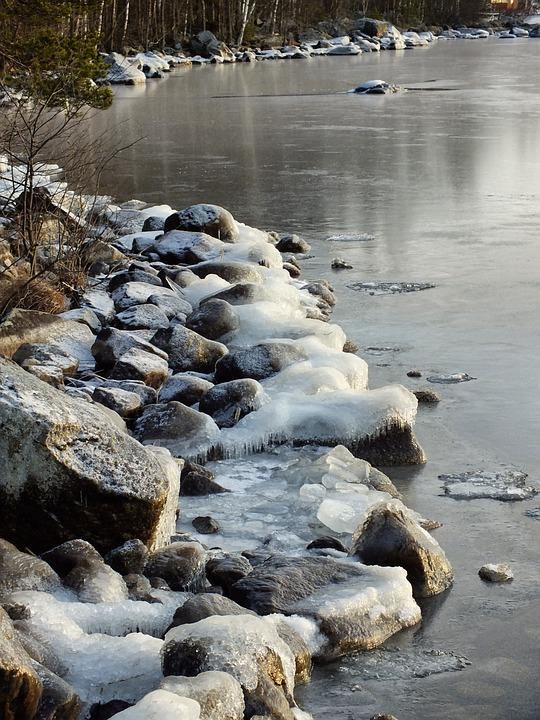 Winter, Freezing Lake, Lake, Shore, Snow, Ice, Water