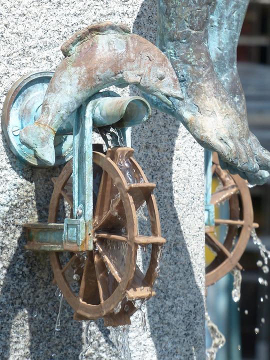 Fountain, Freilassing, Downtown, Pedestrian Zone