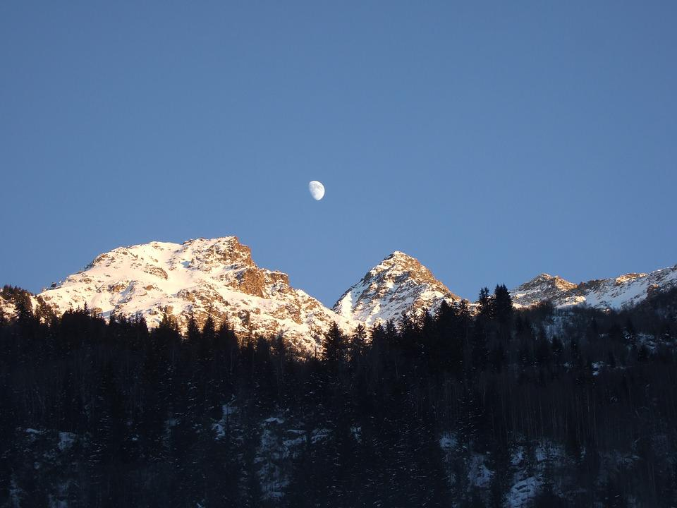 French Alps, Moon Over Alps, Alps