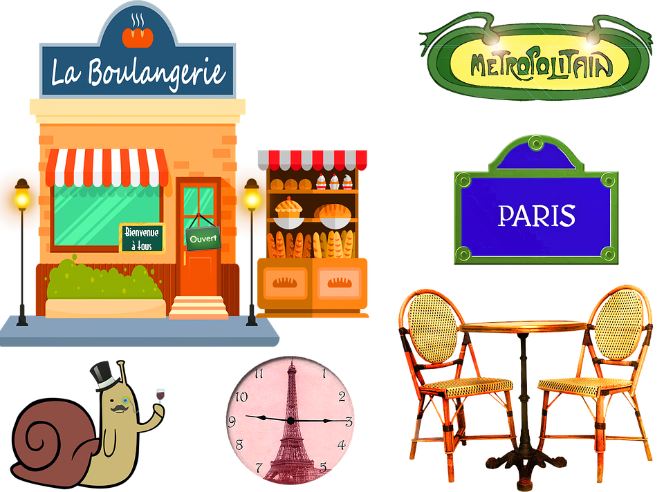 French Bakery, Paris, Table And Chairs, Metro Sign
