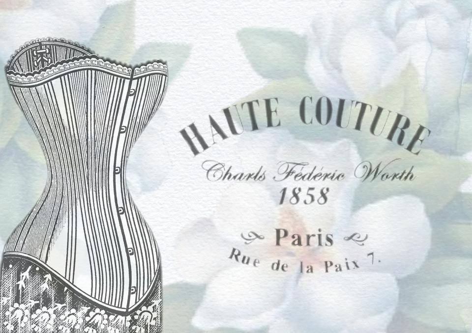 Vintage, Corset, Fashion, French, Haute Couture