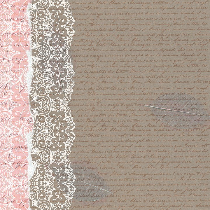 Vintage Paper, French Handwriting, Lace, Grunge