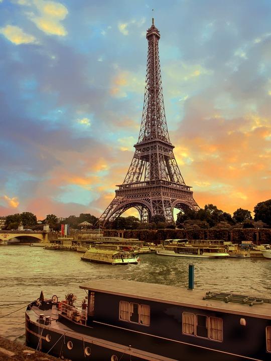 Eiffel Tower, Paris, Seine River, French, Europe