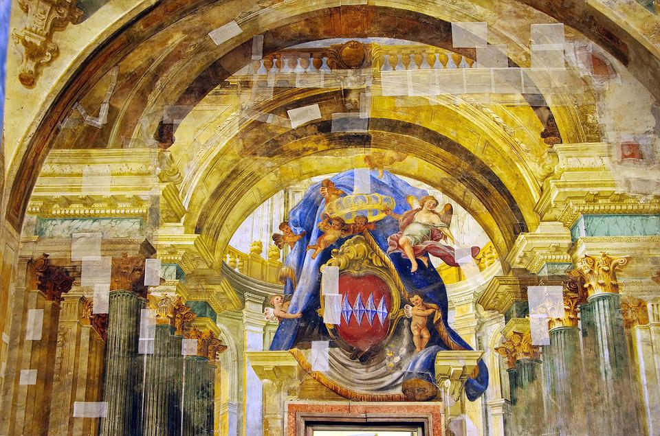 Italy, Sorrnte, Church, Fresco, Trompe-l'oeil