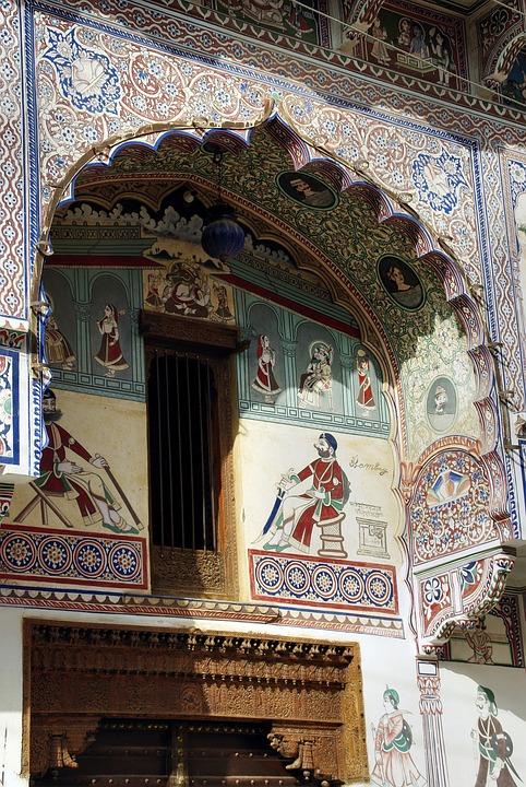 India, Rajastan, Shekawati, Mandawa, Fresco, Wall