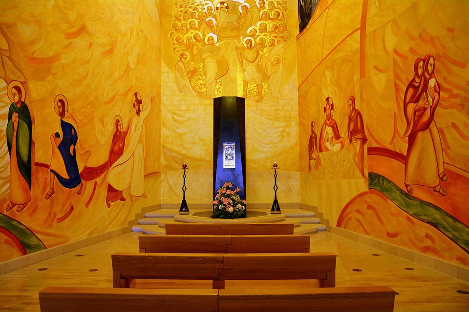 Church, Frescoes, Altar, Desks, San Giovanni Rotondo