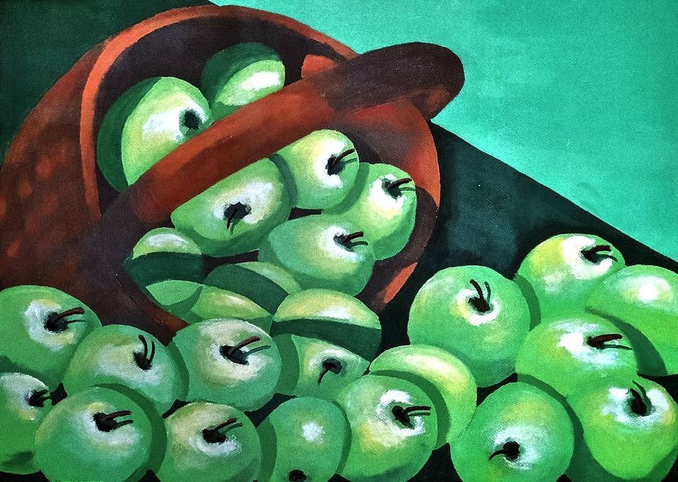 Green Apples, Painted, Fresh, Artistic
