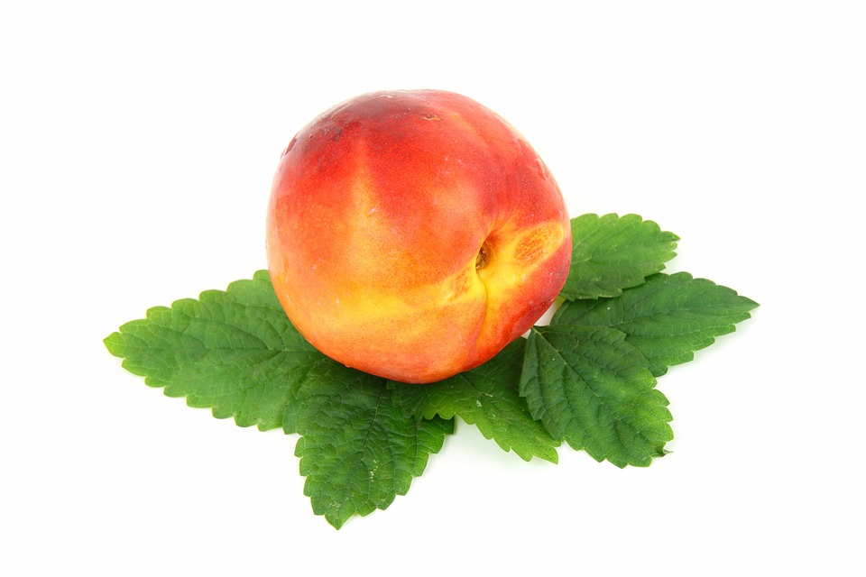 Food, Fresh, Fruit, Isolated, Leaf, Nectarine, Organic