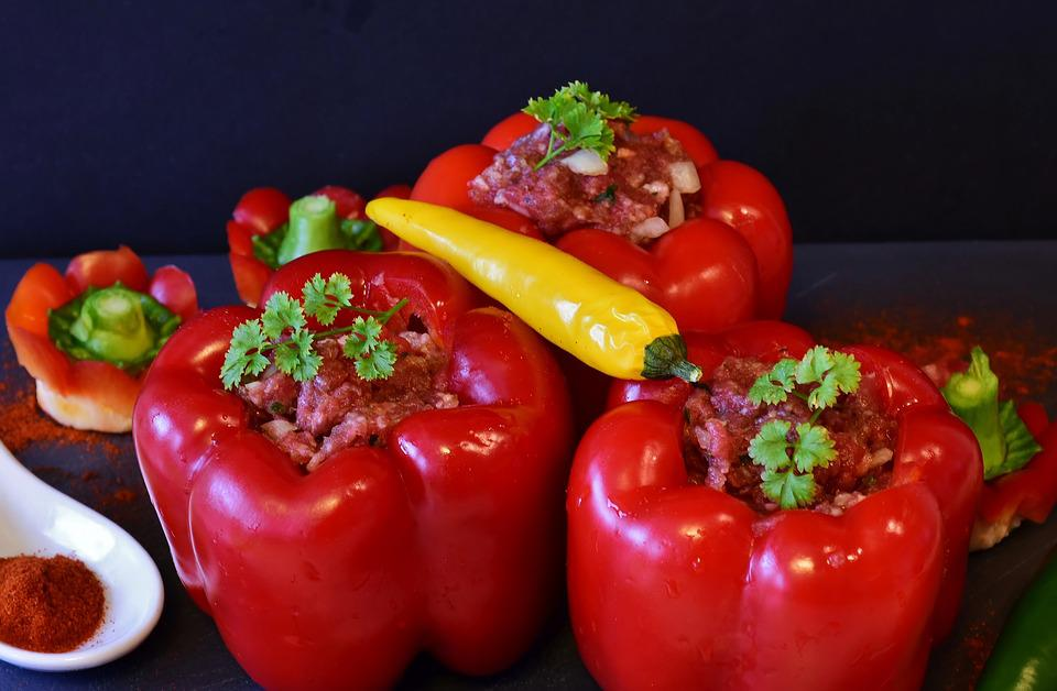 Paprika, Peppers Filled, Minced Meat, Fresh, Lunch