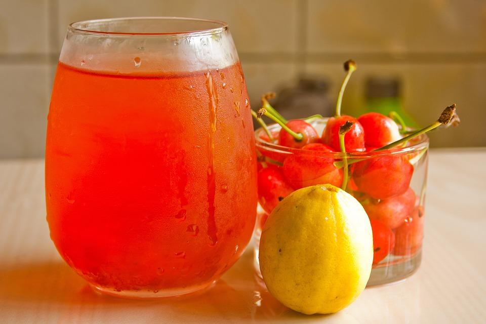 Cherries, Juice, Lemon, Fresh, Refreshments, Summer