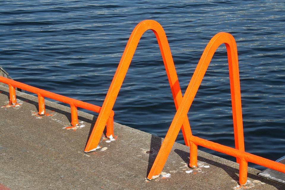 Port, Orange, Head, Mole, Pier, Water, Freshly Painted