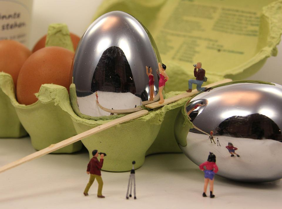 Miniature Figures, Fried, Egg, Funny, Fun, Mirror Image