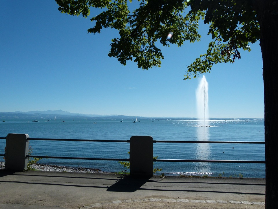 Fountain, Friedrichshafen, Holiday, Recovery, Promenade