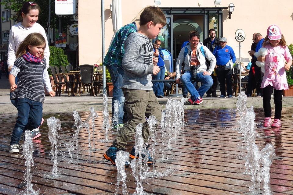 Children, Water Feature, Friedrichshafen, Germany