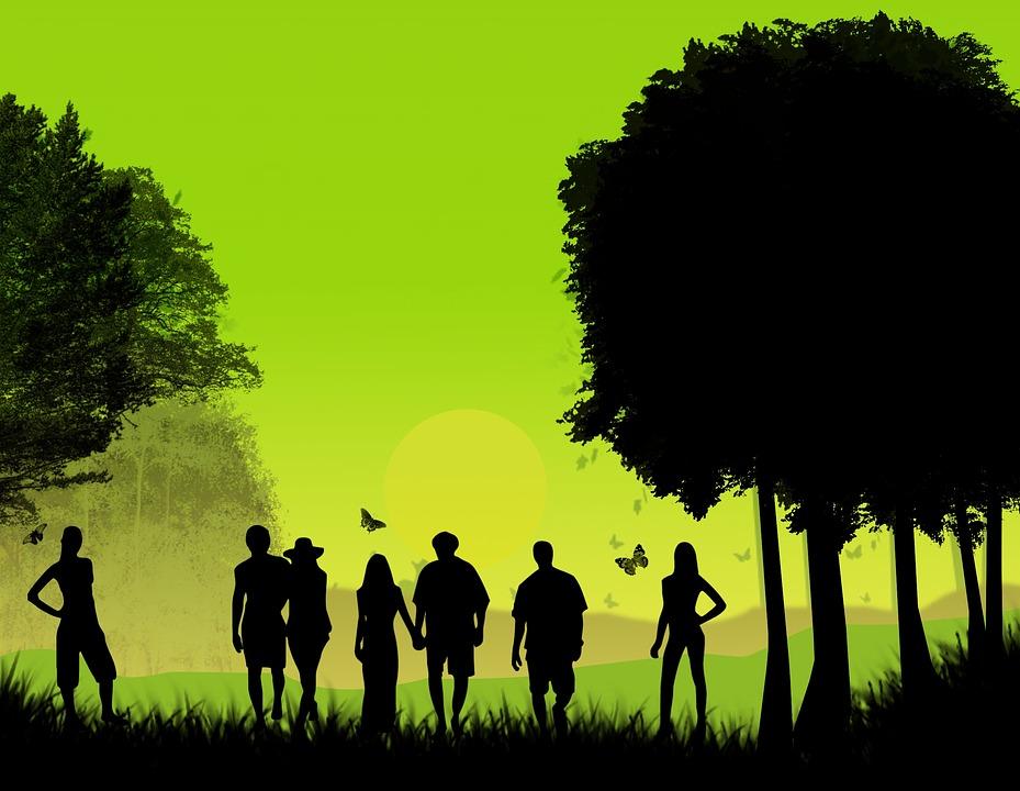 Design, Background, Tree, Friends