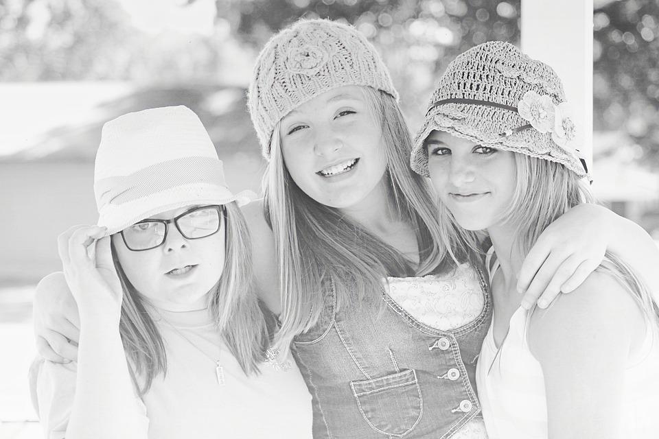 Friends, Girls, Friendship, Portrait, Smile, Hats