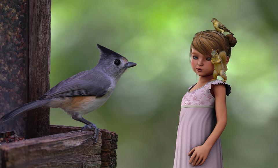 Birds, Bird Feeder, Playful, Delightful, Child, Friends