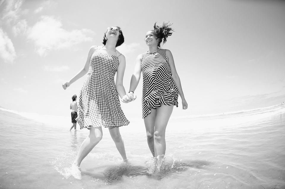 Friends, Sisters, Beach, Black And White, Wave, Splash