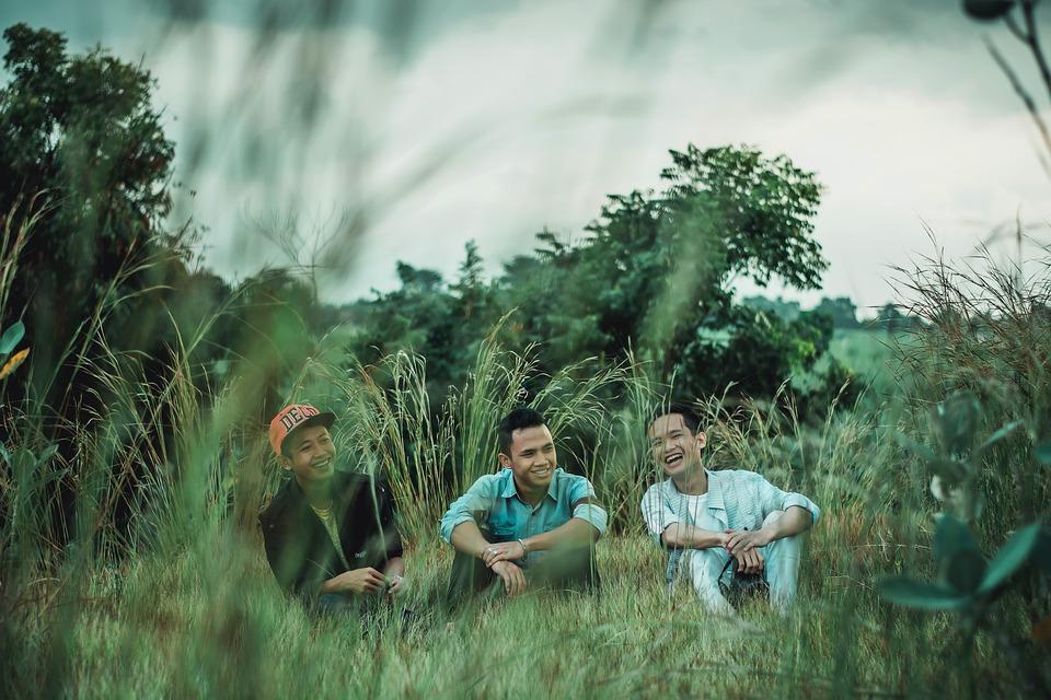 Friendship, Best Friend, Men On Grass