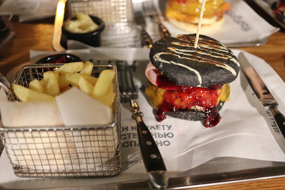 Food, Burger, Fries, Potatoes, Tasty, Black Burger