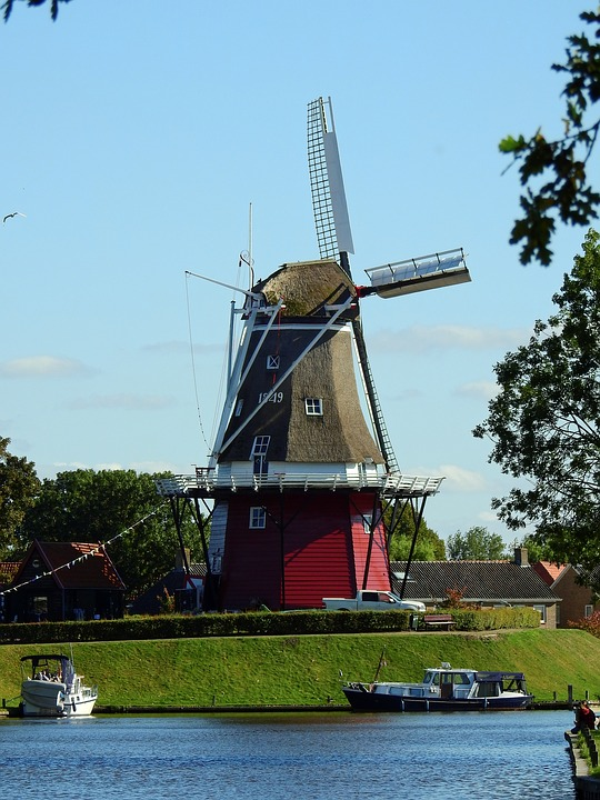 Mill, Windmill, Building, Sky, Wing, Wind, Friesland