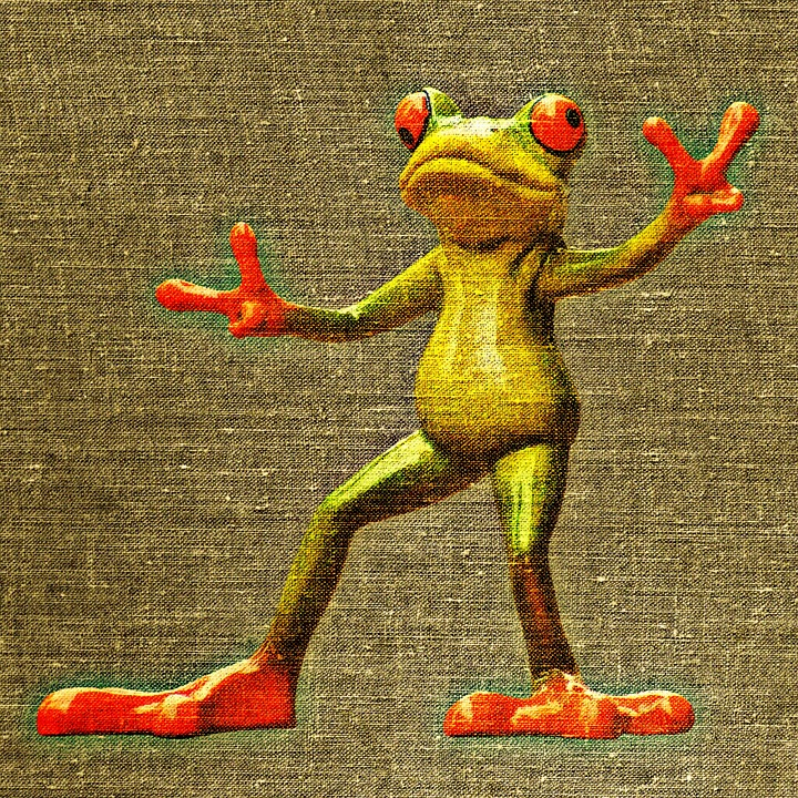 Frog, Gesture, Peace, Fabric, Tissue, Funny, Cute