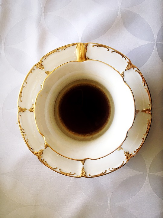 Cup, Coffee, Drink, From Above, Symmetry, About, Gold