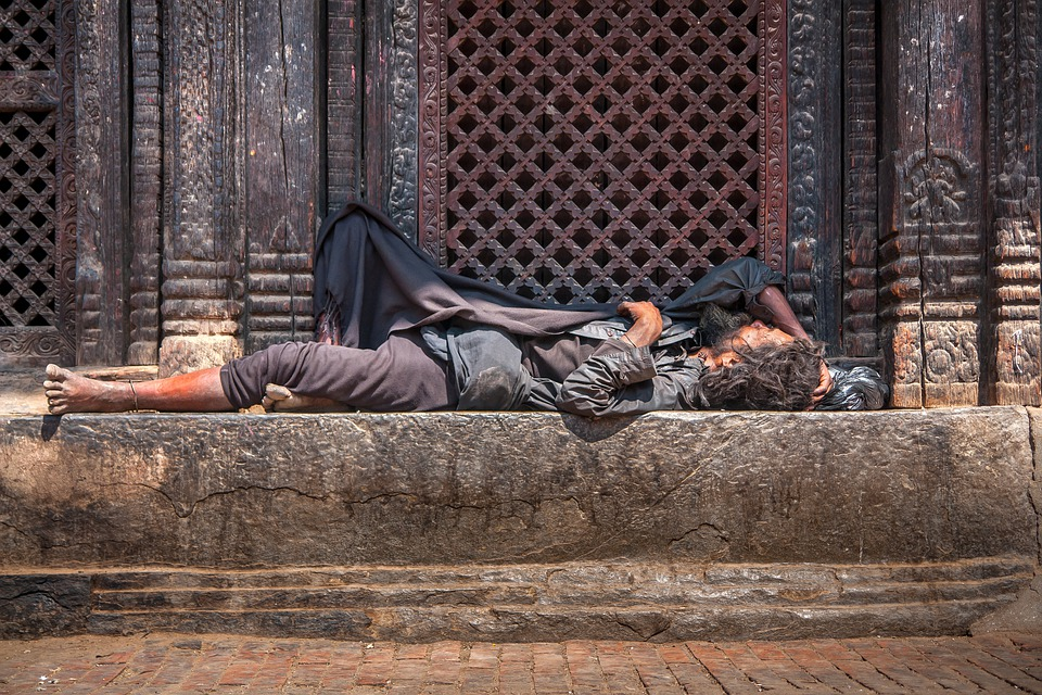 Homeless, Sleeping, Temple, Front, Building