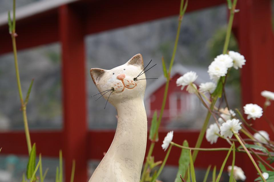 Cat, Red, Figure, Garden, Front Yard, Fence, Deco